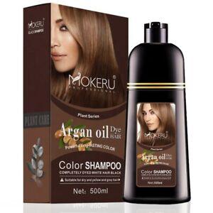 Mokeru Natural Color Permanent Hair Colour Shampoo Long Lasting Hair Dye Brown