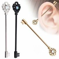 Unisex Studs Stainless Steel Key Opal Earring Body Piercing Ear Barbell