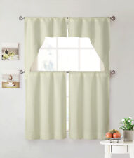 Beige 4 Piece Kitchen Window Curtain Set: Lace Border, 2 Swag and 2 Tier Panels