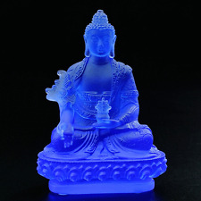 Blue Color Medicine Buddha Art Glass Crystal Sculpture Statue