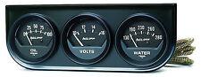 Auto Meter AutoGage 3-Gauge BLACK Console 52mm Oil Pressure / Water Temp / Volt