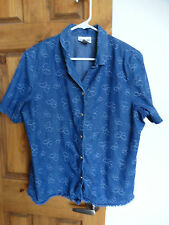 Alfred Dunner women's s/s button-down butterfly design denim shirt size 18