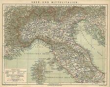 Vecchia Carta geografica 1884: superiore e Italia centrale. Italia Corsica Toscana (b13)