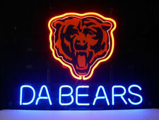 "Chicago Bears Da Bears Neon Lamp Sign 20""x16"" Bar Light Beer Glass Display"