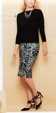NWT $119 TALBOT SEASONLESS GRAY & BLACK ANIMAL PRINT SKIRT LONG SIDE ZIPPER 18W