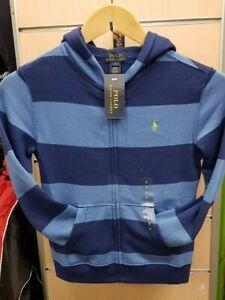 Polo Ralph Lauren Infant Boys Hooped Full Zip up Hoodie Hooded Jacket Age 5 & 7