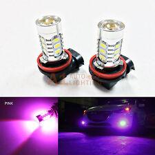 2x Pink H11 H8 15w High Power Car LED Bulbs 5730 15-SMD Super Bright Fog Light