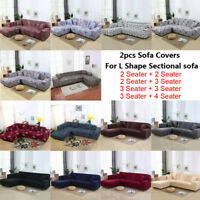 2pcs Stretch Sofa Covers Corner Couch Protector Slipcover for L Shape Sectional