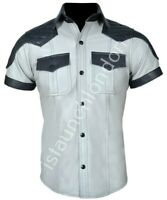 Mens Hot Genuine Real Light Grey Sheep LEATHER Police Uniform Shirt BLUF Gay