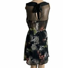 American Rag Cir Sleeveless Dress SZ Medium Black Floral  Mesh Boho Flirty Sexy