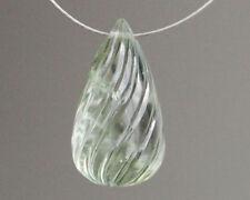 9x14mm. Natural Prasiolite Green Amethyst Carved Spiral Teardrop Briolette Bead