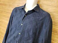 Robert Graham Dark Blue Jacquard Dice Print Button Front Shirt Mens Size XL