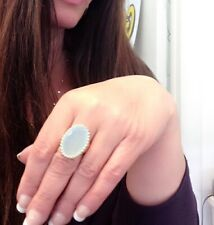 ⭐️STERLING SILVER VINTAGE GREEN CHALCEDONY STATEMENT RING Wow!⭐️