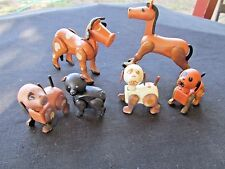 6 FISHER PRICE HEX NUT ANIMALS HORSE,COW,PIG, 1 WHITE SPOTTED DOG + 2 DOGS