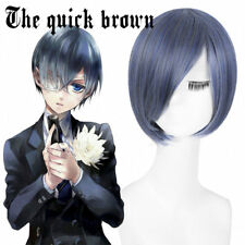 Shieru Pandomuhaiwu Ciel Phantomhive Blue Gray Short Anime Costume Cosplay Wig