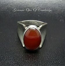 Modernist ISRAEL Silver Flaired Shoulder Carnelian Cabochon Ring Size N 8g