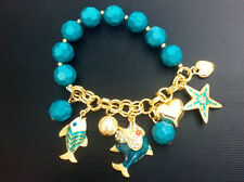 B383 BETSEY JOHNSON Star Deep Sea Beach Turtle Fish Starfish Shell Bracelet US