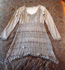 Tredy Damen Kleid mit Zipfel mittelgrau Größe: 36