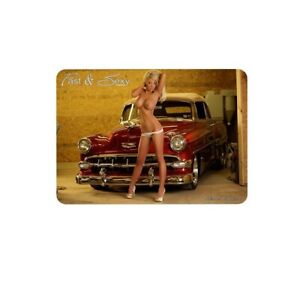 """Sexy Girl Hot Rod pinup Sign for Wall Vintage Metal Tin Retro 11.8"""" x 7.8"""""""