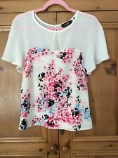 Luxe @ Dorothy Perkins Size 8 White Pink Multi Floral Summer Blouse TOP Holiday