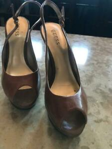GUESS slingback heels, brown leather sz 10