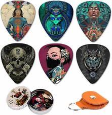 Medium Pack with Leather Picks Holder Unique Artistic Guitar Picks 12
