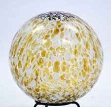 10 Inch Glass Garden Gazing Ball, Chocolate/White Spots Color, Transparent No Mi
