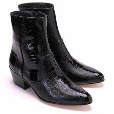 Men's Los Altos Genuine Full Ostrich Leg Dress Ankle Boots With Side Zipper