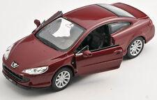 BLITZ VERSAND Peugeot 407 Coupe bordeaux Welly Modell Auto 1:34 NEU & OVP