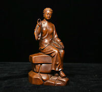 """6"""" Chinese Buddhism Boxwood Wood Carved Great rural women loving Mother Statue"""