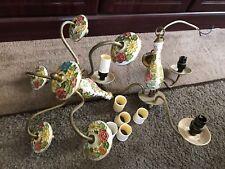 Candelabros De Porcelana & Latón Pintado a mano-brazo de 5 + 3 Brazo Para Restaurar