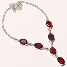"Gorgeous ! Faceted Garnet Quartz Silver Plated Handmade Necklace 17""18""(n-1342)"
