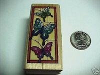 Stained Glass Butterfly Wood and Rubber Mounted Stamp Stamp NEW