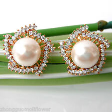 Navachi Artificial Pearl Flower 18K GP Crystal Rhinestone stud Earrings BH1819