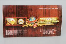 Original Schlitz Beer Refrigerator Clock & Mural Dealer Advertising Card Old