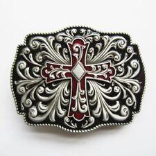 Celtic Cross Flowers Western Enamel Color Belt Buckle