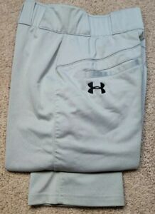 UNDER ARMOUR-Gray Perform.Poly, Mens Athletic Baseball Pants-(S)