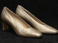 AMALFI VANESSA Golden Brushed Soft Leather Block Heels Pumps Italy 6M