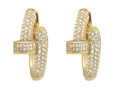 Yellow Gold Finish Simulated Lab Created Designer Nail Style Hoop Earring