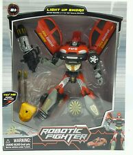Robotic Fighter robot transforms Fire Car 10in with lights up sword New ages 5+