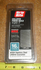 "Grip Rite 304 Stainless Steel 16 Ga. x 2"" Angled Collated Finish Nails 1000"