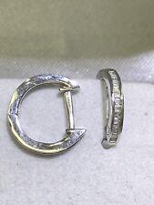 14k Solid White Gold Diamond Hoop Earring. D.13ct. G1.25gr. Retail $799