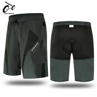 Mens Padded Baggy Cycling Shorts MTB Mountain Bike Pants Casual Sports Downhill