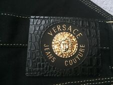 1990s Gianni Versace Jeans Couture Black Crystal Gold Embellished Jeans IT 29 43