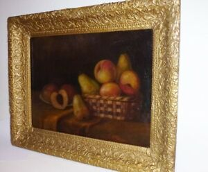 1851 NEW YORK STILL LIFE OIL PAINTING PEACHES & PEARS IN BASKET - SIGNED