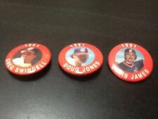 RARE Cleveland Indians 1991 JKA Star Buttons Baseball Hat Pin LOT Doug Jones