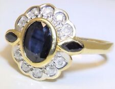 Vintage 18CT YELLOW GOLD SAPPHIRE 0.2CT DIAMOND CLUSTER ENGAGEMENT KATE RING