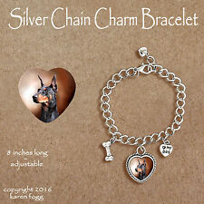 Doberman Pinscher Black Crop Ear Dobie - Charm Bracelet Silver Chain & Heart