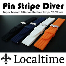 Pin Stripe Soft Silicone Rubber Diving Watch Strap 4 Colours 20-22-24mm 90/120mm
