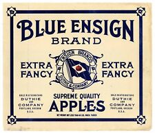 BLUE ENSIGN Brand, Portland, Oregon *AN ORIGINAL APPLE CRATE LABEL*  G05